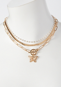 Gold Butterfly Toggle Layered Necklace