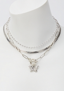 Silver Butterfly Toggle Layered Necklace