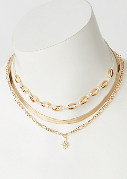 3-Pack Gold Puka Hemp Choker Necklace Set