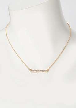Gold Rhinestone Bar Necklace
