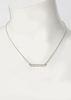Silver Rhinestone Bar Necklace