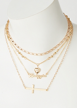 4-Pack Gold Side Cross Baby Girl Necklace Set