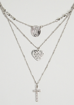 Heart & Cross Layered Necklace