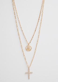 Pegasus & Cross Layered Necklace