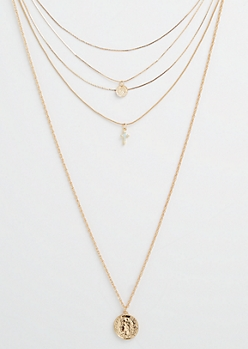 Gold Tone Blue Cross Layered Necklace