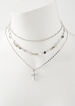 3-Pack Silver Cross Diamond Choker Necklace Set