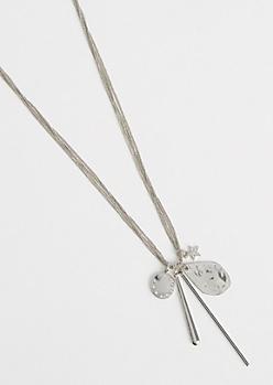Silver Metallic Multi Chain Cluster Necklace