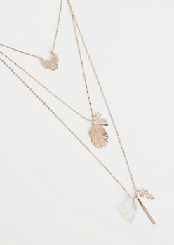 Rose Gold Metallic Layered Cluster Necklace