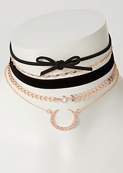 5-Pack Rose Gold Velvet Bull Ring Choker Necklace Set