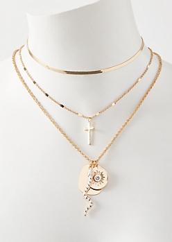 3-Pack Gold Snake Cross Charm Necklace Set