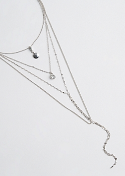 Silver Shell & Chain Tiered Necklace