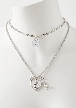 Silver Layered Rose Emblem Necklace