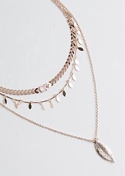 3-Pack Rose Gold Metal Leaf Necklace Set