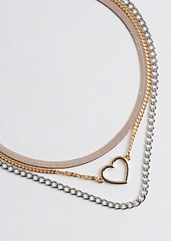 3-Pack Mixed Metallic Chain Necklace Set