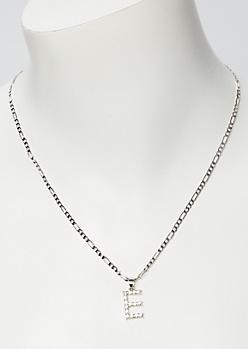 Silver Rhinestone E Initial Necklace