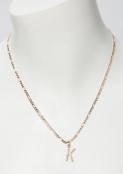 Gold Rhinestone K Initial Necklace