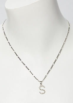 Silver Rhinestone S Initial Necklace