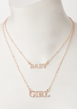 Rose Gold Layered Baby Girl Necklace