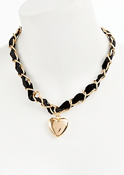 Gold Velvet Heart Charm Necklace