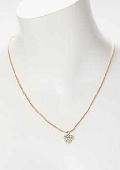 Gold Heart Rhinestone Necklace