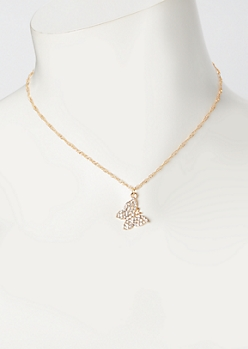 Gold Rhinestone Butterfly Charm Necklace