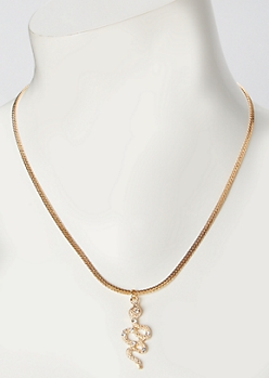 Gold Rhinestone Snake Charm Necklace