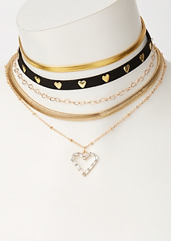 5-Pack Gold Heart Choker Necklace Set