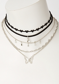 5-Pack Silver Butterfly Choker Necklace Set