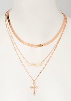 3-Pack Rose Gold Baby Girl Cross Necklace Set