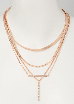 3-Pack Mix and Match Rose Gold Bar Necklace Set