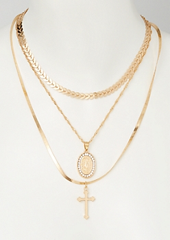 3-Pack Mix and Match Gold Saint Necklace Set
