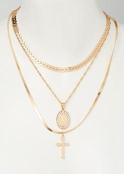 3-Pack Mix and Match Gold Saint Necklace Set