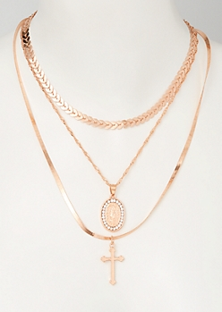 3-Pack Mix and Match Rose Gold Saint Necklace Set