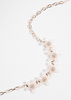 Rose Gold Pink Crystal Statement Necklace