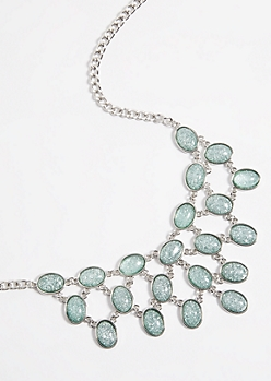 Teal Glitter Stone Statement Necklace