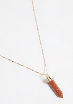 Gold Stone Crystal Necklace