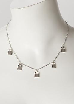 Silver Mini Lock Chain Necklace