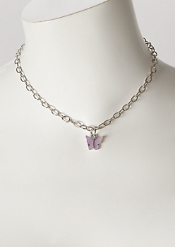 Lilac Butterfly Chain Necklace
