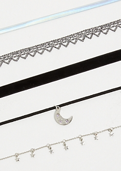 5-Pack Silver Moon Pendant Choker Necklace Set