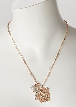 Gold Rose Cross Pendant Necklace