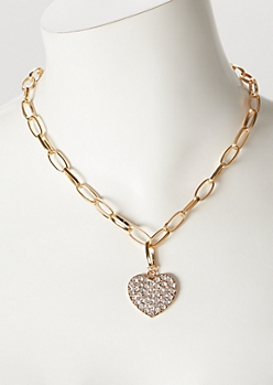 Gold Heart Pendant Link Chain Necklace