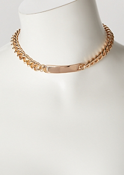 Gold Chain Bar Choker Necklace