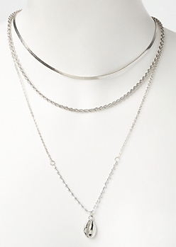 Silver Puka Shell Layered Necklace