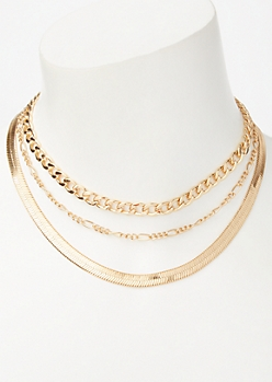 Gold Mixed Chain Necklace Set