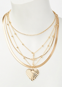 Gold Heart Cross Layered Necklace
