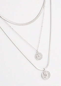 3-Pack Silver Coin Pendant Necklace Set