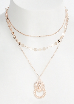 2-Pack Rose Gold Layered Lion Knocker Necklace Set