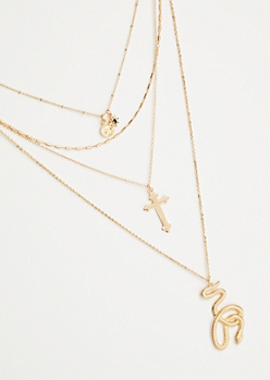 Gold Layered Snake Pendant Necklace