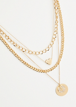 4-Pack Gold Mixed Chain Rose Heart Necklace Set