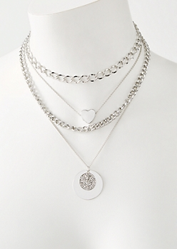 4-Pack Silver Mixed Chain Rose Heart Necklace Set